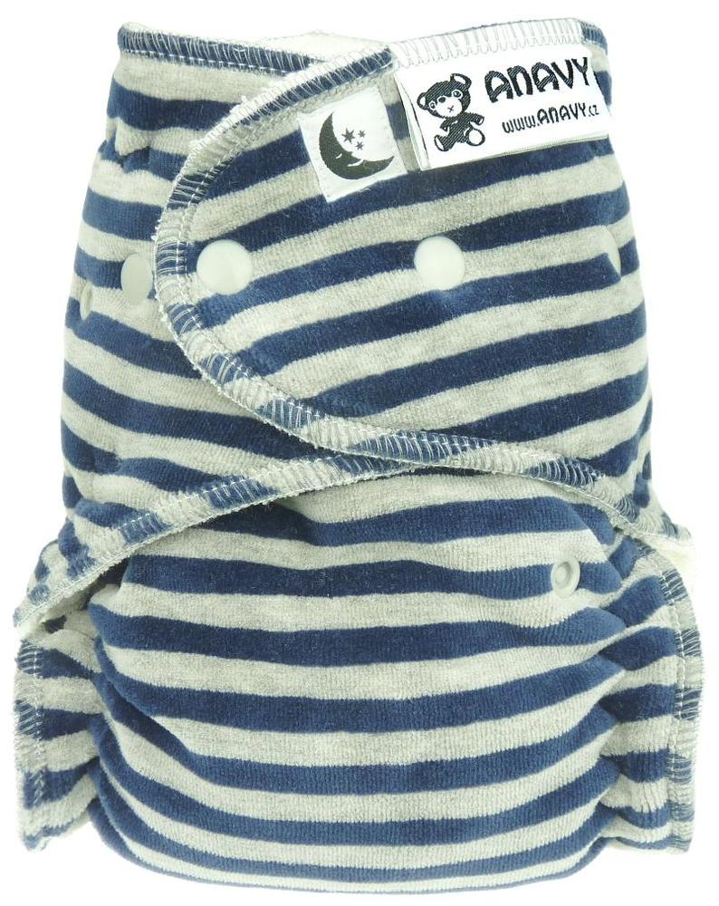 Stripes (dark blue, grey) Fitted diaper with snaps