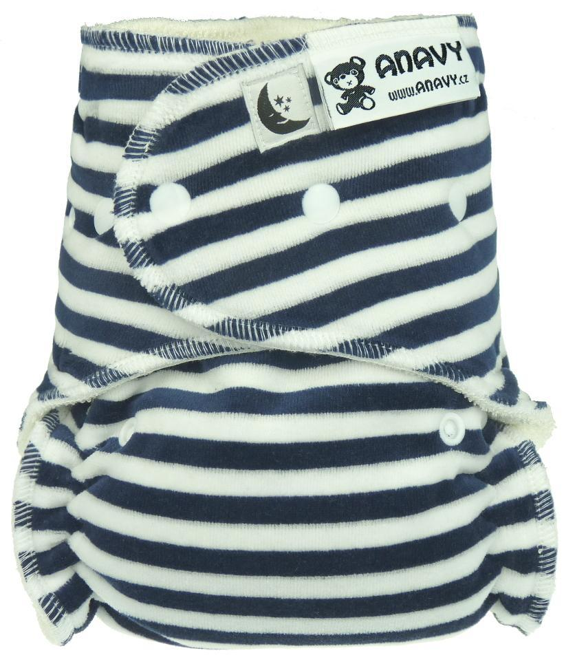 Stripes (dark blue, white) Fitted diaper with snaps