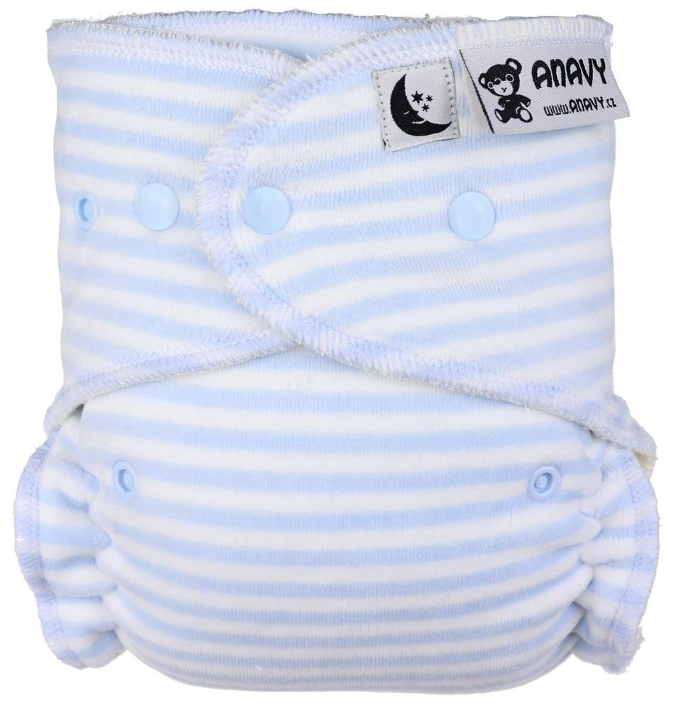 Stripes (light blue, white) Fitted diaper with snaps