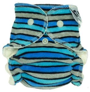 Stripes (blue, grey) Fitted diaper with snaps