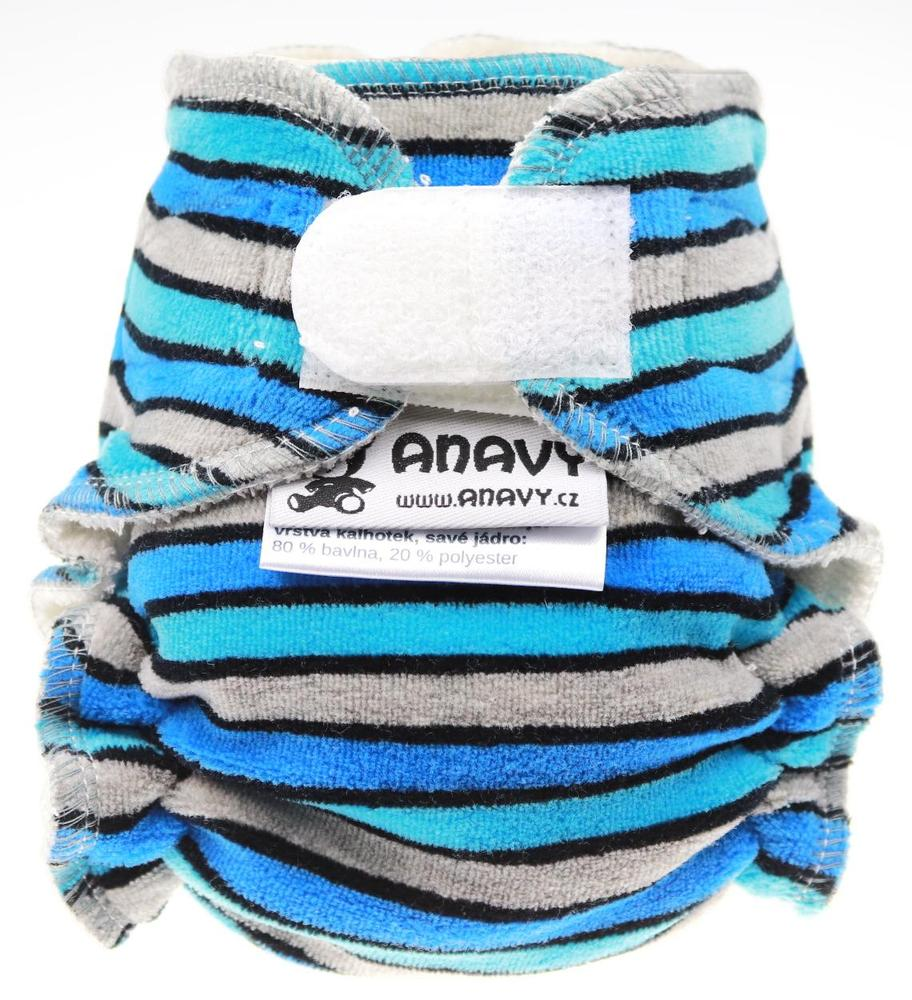 Stripes (blue, grey) Fitted diaper with velcro