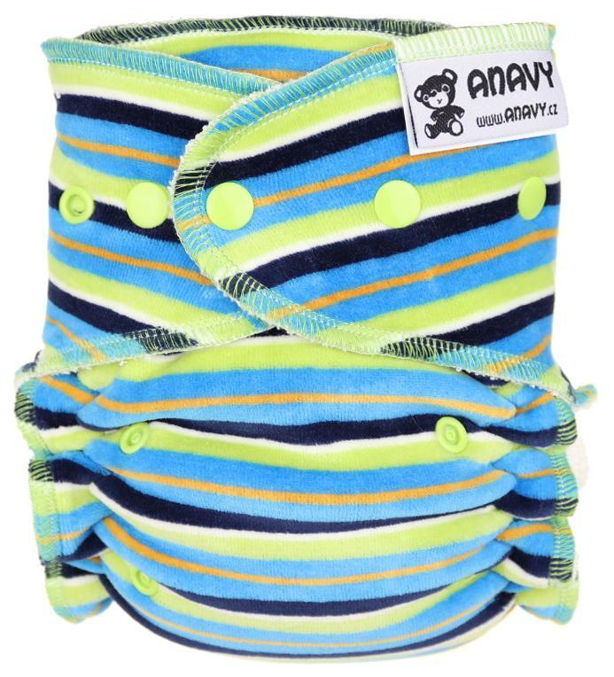 Stripes (blue, green) Fitted diaper with snaps