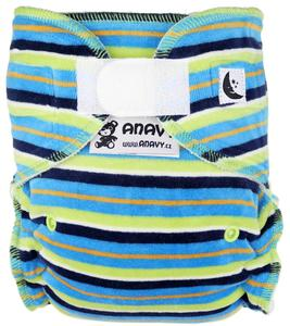 Stripes (blue, green) Fitted diaper with velcro
