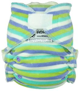 Stripes (mint, periwinkle) Fitted diaper with velcro