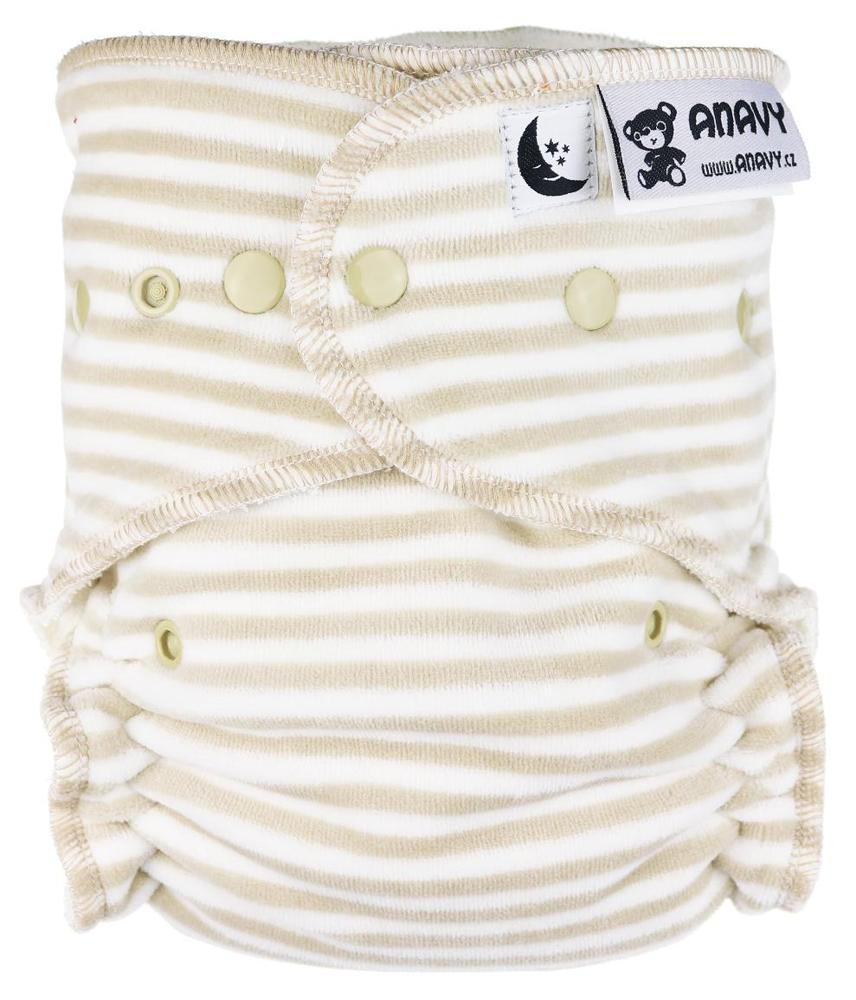 Stripes (beige, white) Fitted diaper with snaps