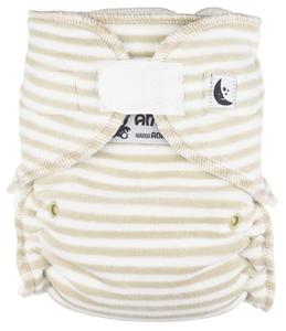 Stripes (beige, white) Fitted diaper with velcro