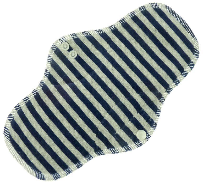 Stripes (dark blue, grey) Menstrual pad with PUL