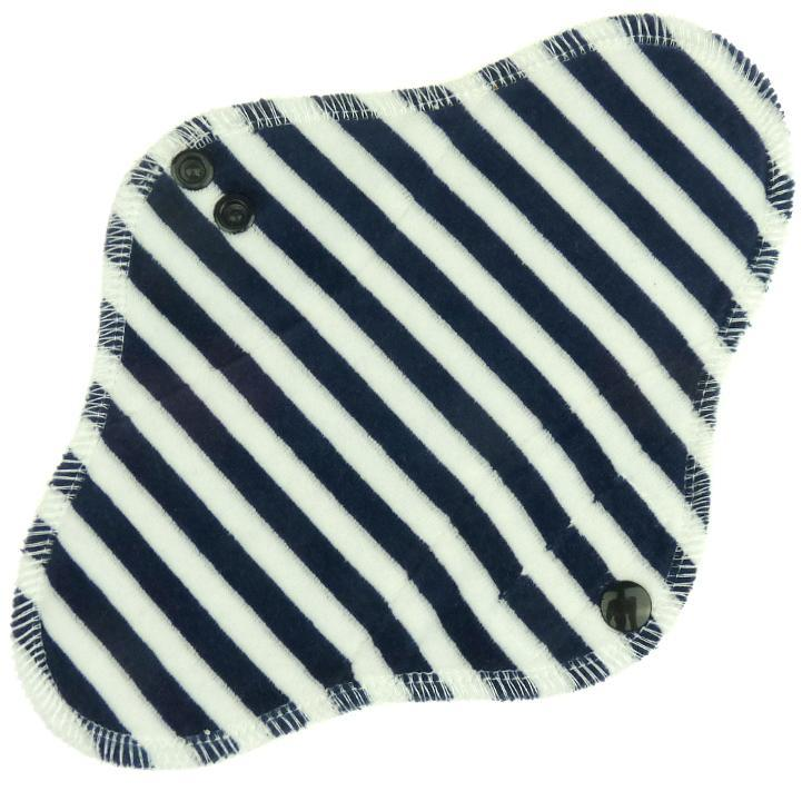 Stripes (dark blue, white) Menstrual pad with fleece