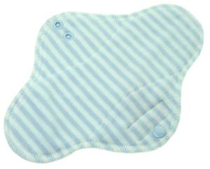 Stripes (light blue, white) Menstrual pad with PUL