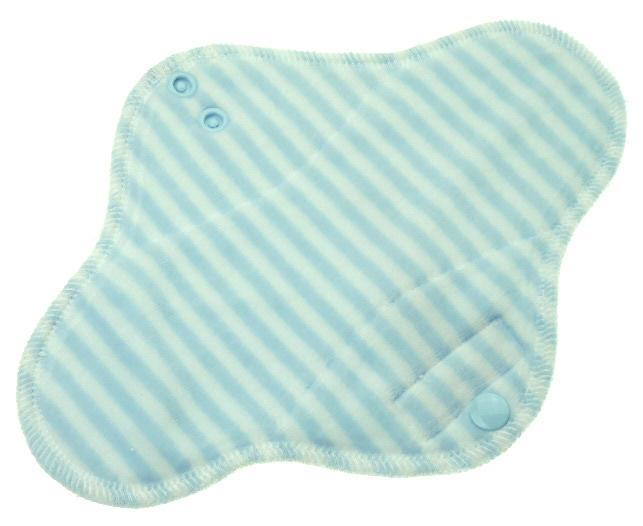 Stripes (light blue, white) Menstrual pad with fleece