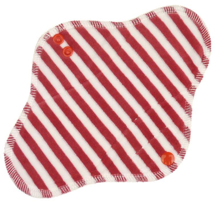 Stripes (red, white) Menstrual pad with PUL
