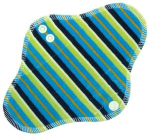 Stripes (blue, green) Menstrual pad with PUL