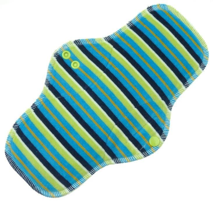 Stripes (blue, green) Menstrual pad with fleece