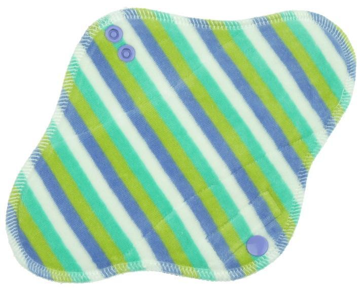Stripes (mint, periwinkle) Menstrual pad with fleece