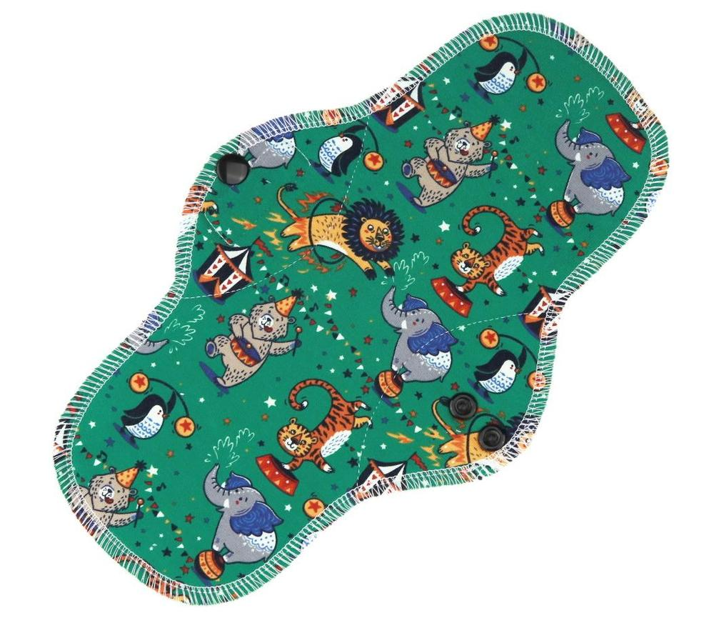 Circus (green) Menstrual pad with PUL