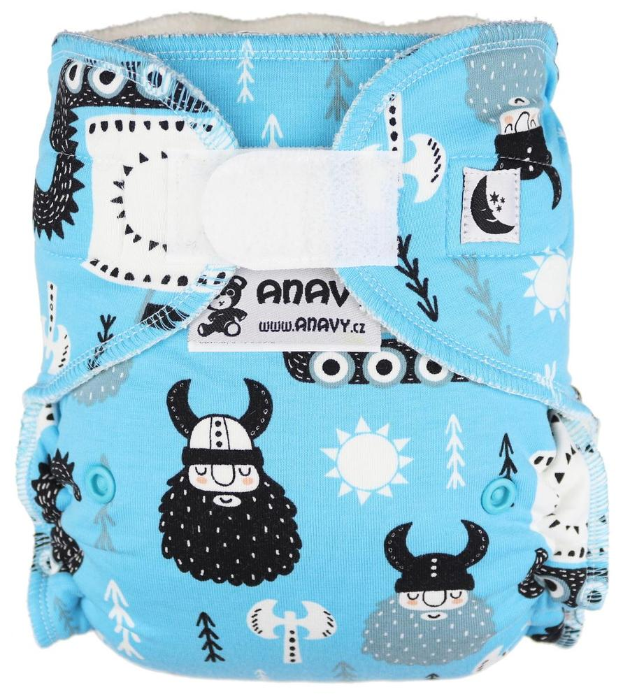 Vikings (turquoise) Fitted diaper with velcro